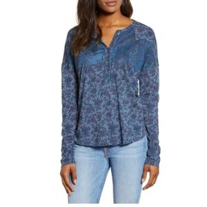 NEW Lucky Brand Floral Western Button Henley Tee